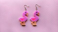 Flamingo earrings made from Perler beads/Hama beads/mini Hama beads by: 8BitEarrings on Etsy
