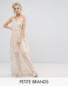 bbbdd5a1da3 True Decadence Petite Wrap Front Frill Maxi Dress In Metallic Star Print on  ShopperBoard