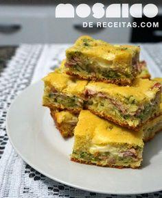 Mosaico de Receitas: Torta de Milho com Presunto, Brócolis e Requeijão