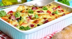 There's nothing better than a hot and fresh casserole right from the oven. For cooking recipes that are failsafe yet still delicious, look no further than these casserole ideas that are sure to garner your cooking some new fans along the way. Pork Casserole, Veggie Casserole, Casserole Recipes, Mixed Vegetable Casserole, Cozy Meals, Veggie Pasta, Veggie Bake, Cooking Recipes, Healthy Recipes