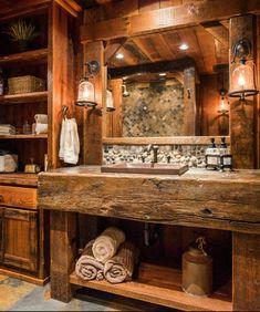 36 beautiful farmhouse bathroom ideas that amazingly cozy and inviting 1 Rustic Cabin Bathroom, Barn Bathroom, Rustic Bathroom Designs, Rustic Bathroom Vanities, Rustic Bathrooms, Bathroom Layout, Dream Bathrooms, Bathroom Interior, Log Cabin Bathrooms