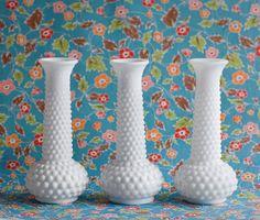 Milk Glass Vintage Vase, Hob Nail White Polka Dot, Wedding Centerpiece