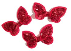 """Red 2"""" butterfly sequin bow / 1-3 pieces"""