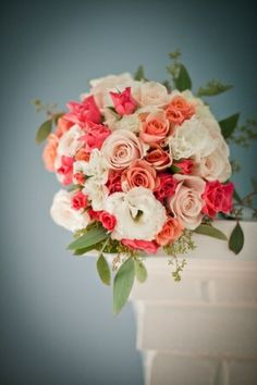 Beautiful Blooms - White, Blush, Peach, and Coral Bouquet by JustcallmeLOVE
