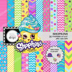 "Shopkins Digital Paper Pack - 30 Papers - 200 Clipart - 12""x12"" - Printable Paper - Digital Scrapbooking - Instant Download -"
