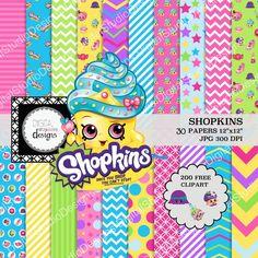 "Shopkins Digital Paper Pack - 30 Papers - 200 Clipart - 12""x12"" - Printable Paper - Digital Scrapbooking - Instant Download -"