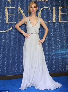 Brilliant on the blue carpet: Cinderella stunned in a grey-blue gown at the premiere of Ci...