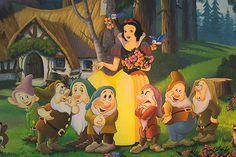 Diamond Painting Snow White with Flowers and the Seven Dwarfs Kit Arte Disney, Disney Magic, Disney Art, Snow White 1937, Snow White Seven Dwarfs, Snow White Disney, 7 Dwarfs, Painting Snow, Disney Pictures