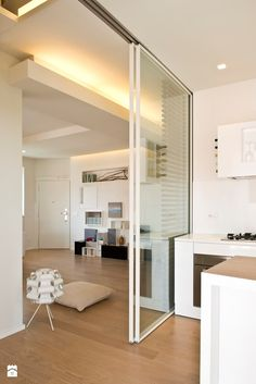 Living room-kitchen - published by Acrivoulis - Kitchen - Modern Styl - Acrivoulis - roomkitchen <-> Kitchen Glass Doors, Kitchen Sliding Doors, Sliding Door Design, Kitchen Room Design, Dining Room Design, Interior Design Living Room, Room Kitchen, Kitchen Living, Room Divider Ideas Bedroom