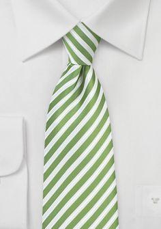 Krawatte Business-Streifen edelgrün perlweiß