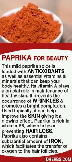 Paprika is loaded with antioxidants as well as essential vitamins & minerals that can keep your body healthy. Its vitamin A plays a crucial role in maintenance of healthy skin, prevents the occurrence of wrinkles, & promotes a bright complexion. Used topi Health And Nutrition, Health And Wellness, Health Fitness, Nutrition Store, Natural Medicine, Herbal Medicine, Natural Cures, Natural Health, Salud Natural