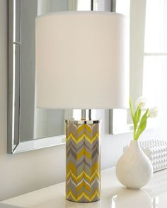 Mini Yellow Chevron Lamp by Jonathan Adler at Horchow. This is a fun design - a quick easy way to get some colors in a crisp chevron pattern. Would be fun in an ikat design. Home Building Design, House Design, Fillable Lamp, Eclectic Table Lamps, I Like Lamp, Yellow Gray Bedroom, Yellow Chevron, Jonathan Adler, My Living Room