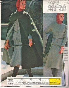 Vogue 1160  1970s  Misses Designer Zip Front Jacket Cape Skirt Pants Turtleneck Hooded Top Anne Klein womens vintage sewing pattern by mbchills,