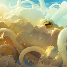 Digital artist Artem Rhads Cheboha has created an amazing series of digital artworks depicting fantasy scenes of flying whales and other sea creatures above the clouds. Art And Illustration, Illustrations, Illustration Example, Website Illustration, Illustration Pictures, Illustration Fashion, Tentacle, Creature Design, Art Design