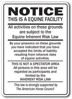 "Supplemental Equine Liability Sign warning statute horse barn stable farm signs by SIGNMISSION. $8.99. For added protection the supplemental sign is strongly recommended. Keep your facility Safe. Brand New Sign: 10"" x 14"". Proudly Manufactured in the U.S.A.. Top Quality Sign. This is a brand new 10"" x 14"" wide sign designed to be used in conjunction with the required liability signs. Our equine signs are made from outdoor durable plastic with professional grade vi..."