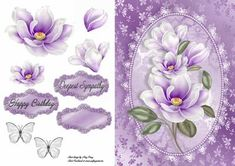 """Beautiful Lilac Flowers on Craftsuprint designed by Amy Perry - Beautiful Lilac Flowers in lovely Lilac plaque frame, also has decoupage and choice of tag """"Happy Birthday"""" """"Deepest Sympathy"""" and a blank tag for your own sentiment  - Now available for download!"""