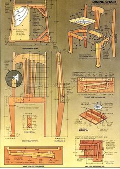 Dining Chair Plans - Furniture Plans and Projects - Woodwork, Woodworking, Woodworking Plans, Woodworking Projects Diy Furniture Blueprints, Diy Furniture Plans, Woodworking Furniture, Woodworking Logo, Cool Woodworking Projects, Diy Wood Projects, Woodworking Plans, Woodworking Supplies, Woodworking Apron