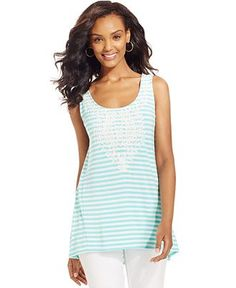 Style&co. Sleeveless Striped High-Low Tunic - Tops - Women - Macy's