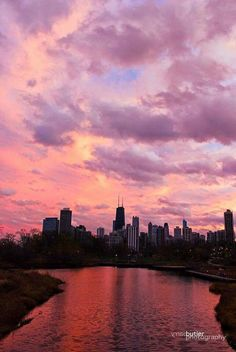 Chicago at sunset. Barry Butler Photography.