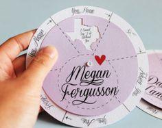 Satz von 5: Spinwheel Brautjungfer Cards - weiß gedruckten Namen Umschlag personalisiert