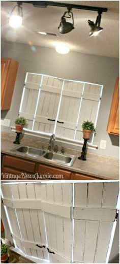 White Distressed Kitchen Shutters - ikea bed slats add brace, hardware and indoor shutters from vintage news junkie. Kitchen Shutters, Farmhouse Shutters, Diy Shutters, Indoor Shutters For Windows, Diy Interior Window Shutters, Primitive Shutters, Shutters Inside, Bedroom Shutters, Cedar Shutters