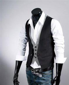 Cool Layered Look Slim Fit Plaid Single Breasted Cotton Men Vest, Australia - DailyShop.com