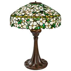 """Tiffany Studios New York """"Dogwood"""" Glass and Bronze Table Lamp 