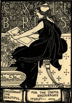 Encourage the Beautiful for the Useful Encourages Itself, Ex Libris bookplate