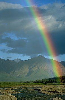 Teklanika River, Denali National Park, Alaska beautiful rainbow showing gods covenant with noah!! Worldventures can take you there!!!