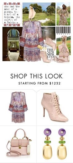 """"" You Ring my Bell , Sweetie !!"" by kateo ❤ liked on Polyvore featuring Topshop, Etro, Alexandre Birman, Miu Miu, Bulgari, Jose & Maria Barrera, bellsleevedress and 6935"