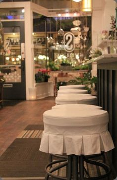the slip covered stools are adorable!