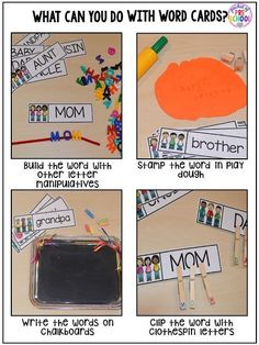 Writing center freebies perfect for preschool, pre-k, and kindergarten (family word cards, event word cards, and fancy writing paper)