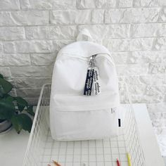 Tips: *Please double check above size and Students canvas backpack White Backpack, Diy Backpack, Backpack For Teens, Adidas Backpack, Cute Backpacks For School, Cute School Bags, Aesthetic Backpack, Aesthetic Bags, Bags For Teens
