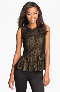 lets show off your curves with this sexy lace peplum!  Vince Camuto Metallic Lace Peplum Top available at #Nordstrom
