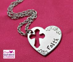 New to CICinspireme on Etsy: Faith hand stamped heart cross necklace (20.95 USD)