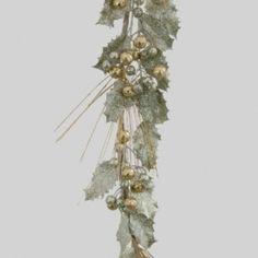 1.8m Gold Champagne Holly leaf garland w/ gold glitter berries   Code: GAHO180GOCH