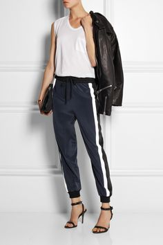 DKNY | Striped stretch-silk track pants | NET-A-PORTER.COM