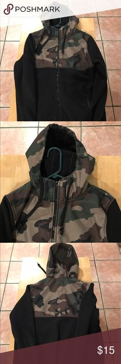 Camo Fleece Holdie Good condition. Just need a zipper to move it up and down, still zip and unzip. Zumiez Jackets & Coats Ski & Snowboard