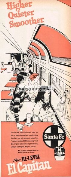 Details about  1957 Santa Fe Railroad El Capitan Passenger Train art Vtg Print Ad.