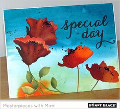 watercolor background, die cut flowers from watercolor paper, paint with reinkers, adhere