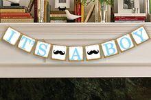 het is een jongen snor guirlande papier gors banner rustieke baby shower doop verjaardag feestartikelen guirlande decoratie(China (Mainland))