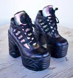 Destroy Platform Shoes Heels Holographic Rainbow Black Leather 90s Raver