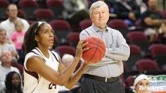 Gibbs Stare! Shades of Leroy Jethro Gibbs, Texas Aggie Women's Basketball Head Coach Gary Blair watches as Jordan Jones leads the way.