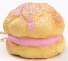 cute small cream puff pink filling icing sugar squishy cellphone charm 1