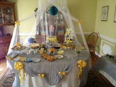 Sweets table yellow and grey , mints m, cheesecake, lemon pie, cup cakes, fruit pizza cookies marshmallows, lemonade