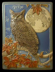 "wall art, ceramic tile, sculpture, ""Moonlit"", animal art, wall hanging by MedicineBluffStudio on Etsy"