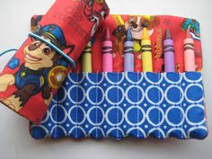 Crayon Roll PAW Patrol Includes 8 Crayons by adorableblessings
