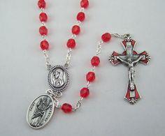 Saint Valentine Rosary Patron Saint of Love Happy Marriages Engaged Couples by FaithHopeAndBeads on Etsy