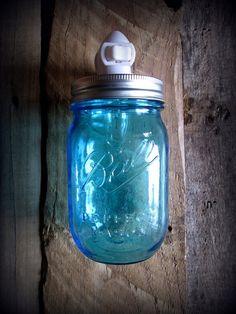Blue Mason Ball Jar Rustic Night Light  Upright by CountryAkers, $18.00