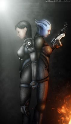 FemShep and Liara -  ME__Holding_On_to_Let_Go_by_Metal_Dragon_Kiryu